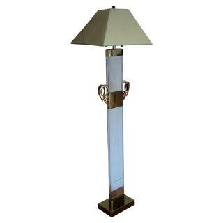 Lucite & Brass Ibex Floor Lamp