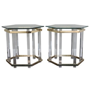 Charles Hollis Jones Style Lucite Tables - A Pair
