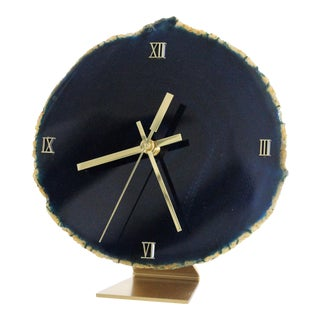 Navy Blue Agate Slice Desk Clock