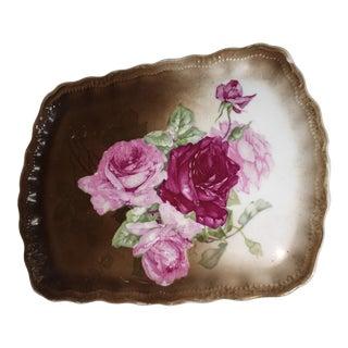 German Porcelain Rose Plate