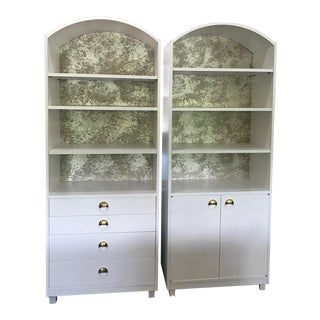 Mid-Century Modern Satin White and Zinc Cabinets - A Pair