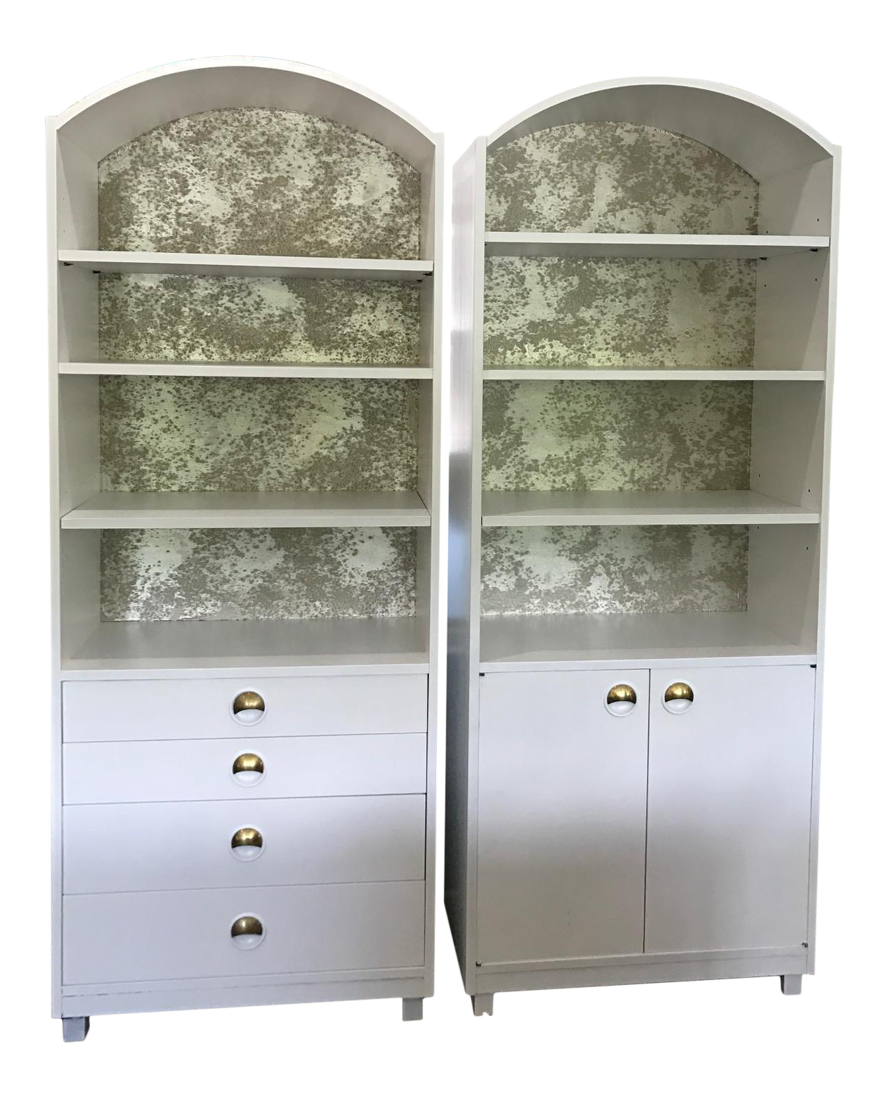 midcentury modern satin white and zinc cabinets a pair