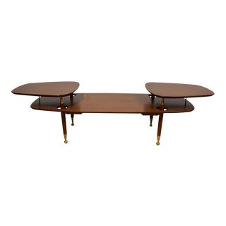 2-Tiered Mahogany & Brass Coffee Table