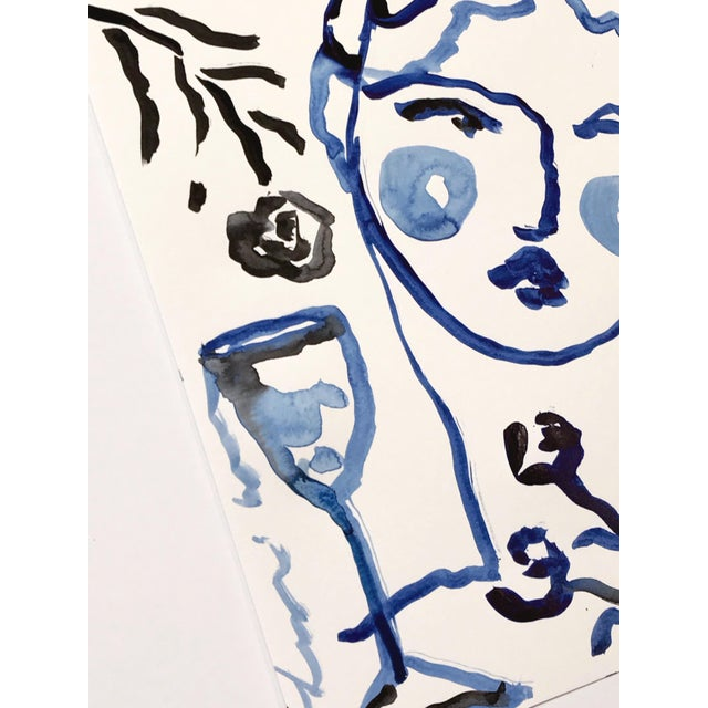 Black & Blue 'Flowers & Wine' Painting - Image 4 of 4