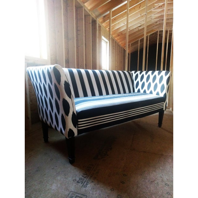 Black & White Stripe Ikat Loveseat - Image 3 of 5