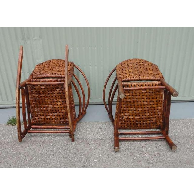 Pair of Signed Old Hickory Barrel Back Rocker and Side Chair - Image 7 of 9