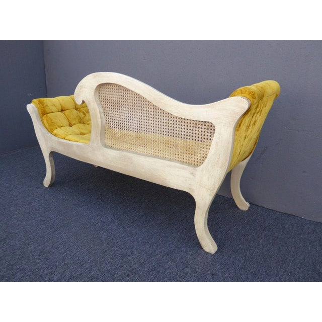 French Provincial White Cane & Gold Velvet Bench Settee - Image 5 of 11