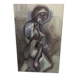 Abstract Figurative Blue and Gray Watercolor Painting