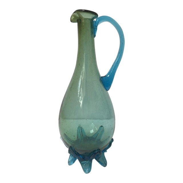 Vintage Turquoise Art Glass Footed Vase - Image 1 of 6