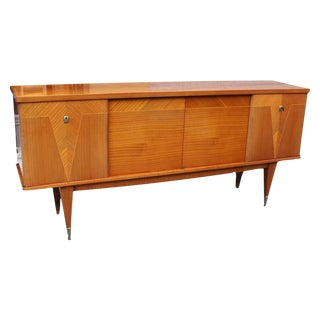 """1940s Vintage French Art Deco/Art Modern Flame Mahogany """"V"""" Buffet or Sideboard"""
