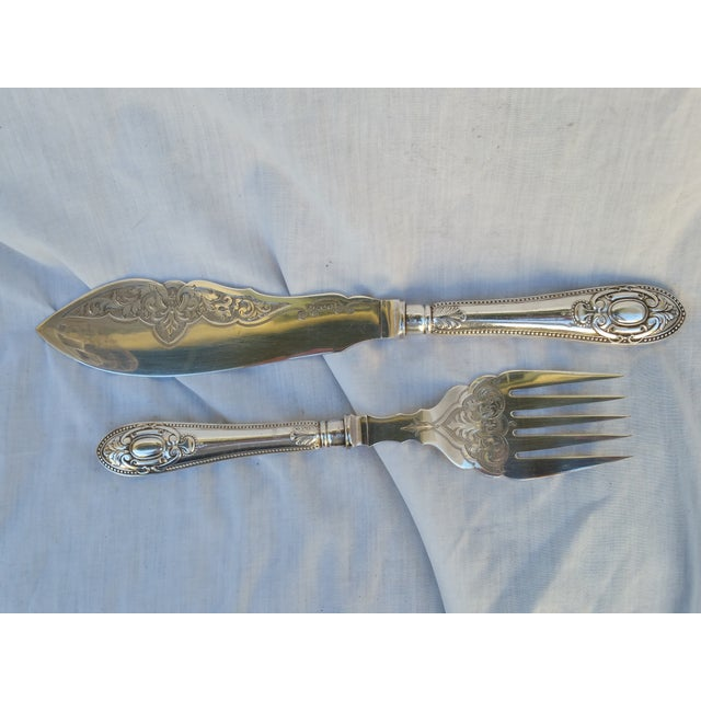 Antique Silver Sheffield Fish Servers - Image 3 of 7