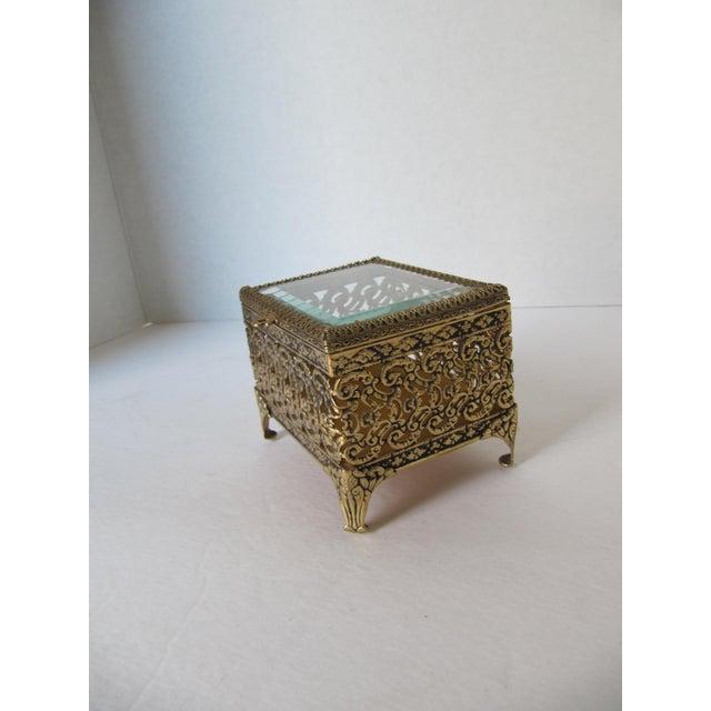 Image of Vintage Square Filigree Jewlery Casket