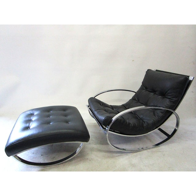 Image of Milo Baughman Vintage Rocking Chair & Ottoman