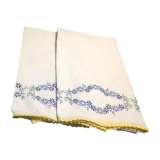 Vintage White Pillowcases With Embroidery and Crocheted Border - Set of 2