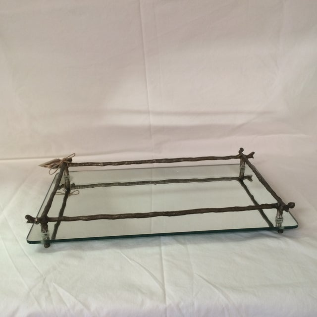 Image of Mirrored Silver Faux Bois Tray