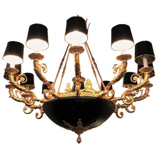 Empire Style Bronze & Ebony Highlights 12-Arm Chandelier