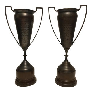 Hammered Bronze Trophy Urns - A Pair