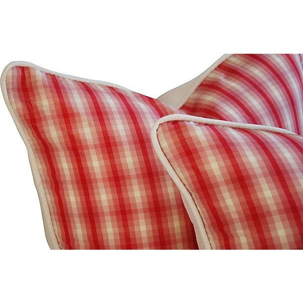 Image of Italian Scalamandre Red Plaid Pillows - A Pair