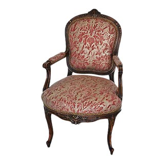 Antique Italian Carved Oak & Mariano Fortuny Lucrezia Fabric Armchair