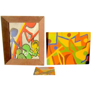 Acrylic Modernist Paintings by Kalina - Set of 3