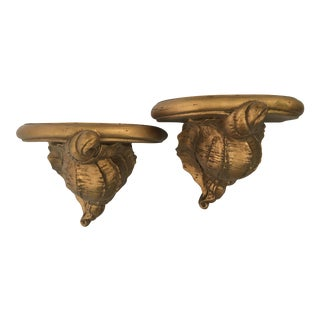 Gold Conch Shell Wall Sconce Shelves- A Pair