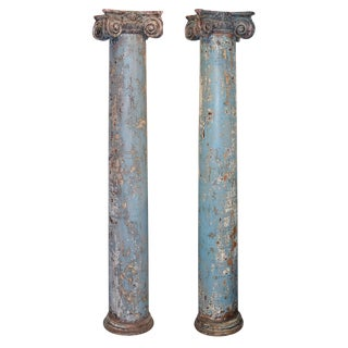 19th Century Pair of Painted Columns