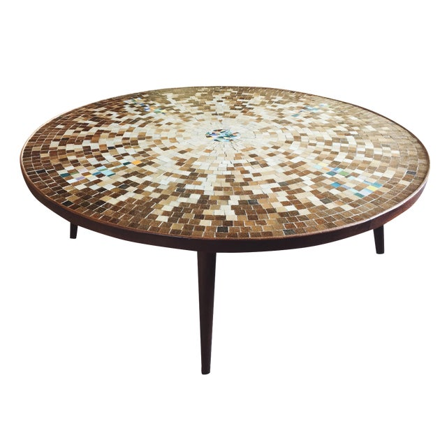 Mid-Century Round Wood & Mosaic Tile Coffee Table
