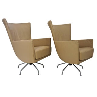Pair of Modern, Italian, Swivel Lounge Chairs, Upholstered in Tan Color Leather