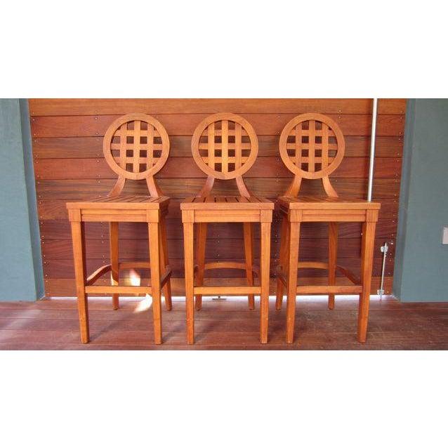 McGuire Orlando Diaz-Azcuy Portico Solid Teak Barstools - Set of 3 - Image 2 of 9