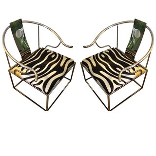 Zebra Chrome Ming Style Chairs - A Pair