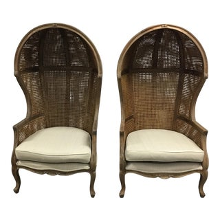 Canopy Caned Back Chairs - A Pair