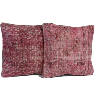Vintage Pink Handmade Over-Dyed Pillow Covers - Pair
