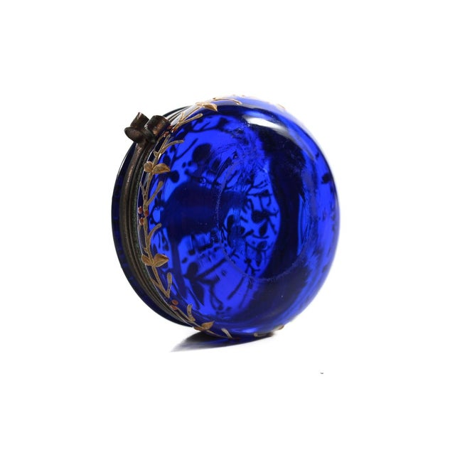 Cobalt Blue Glass Painted Antique Pill Box - Image 6 of 9