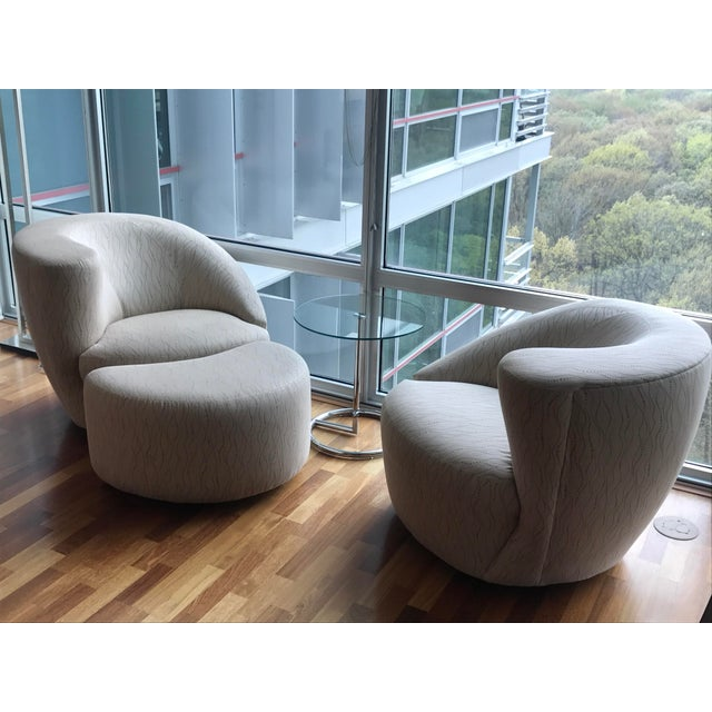 Kagan Style Swivel Chairs & Ottoman - Set of 3 - Image 2 of 4