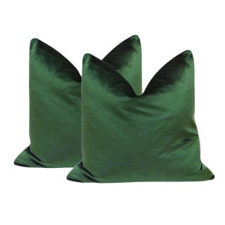 "22"" Italian Silk Velvet Pillows in Emerald Green - A Pair"