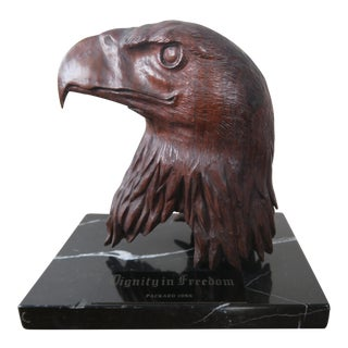 Carved Wood Eagle Head on Marble Base