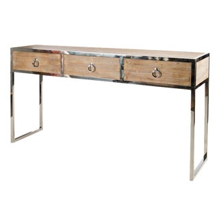 Wooden Console Table With Silver Legs