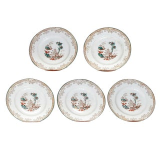 Five Chinoiserie Decorated Creil and Montereau Plates