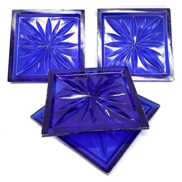 Mid Century Cobalt Blue Cut Lucite Coasters - 4 - Image 6 of 8