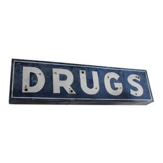 """Large Vintage """"Drugs"""" Sign"""