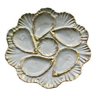 French Limoges Hand Decorated Oyster Plate