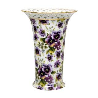 Porcelain Floral Purple Vase by Baum Bros.