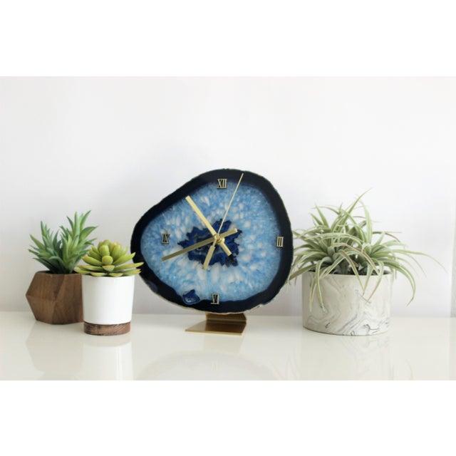 Modern Blue Agate Slice Boho Clock - Image 5 of 7