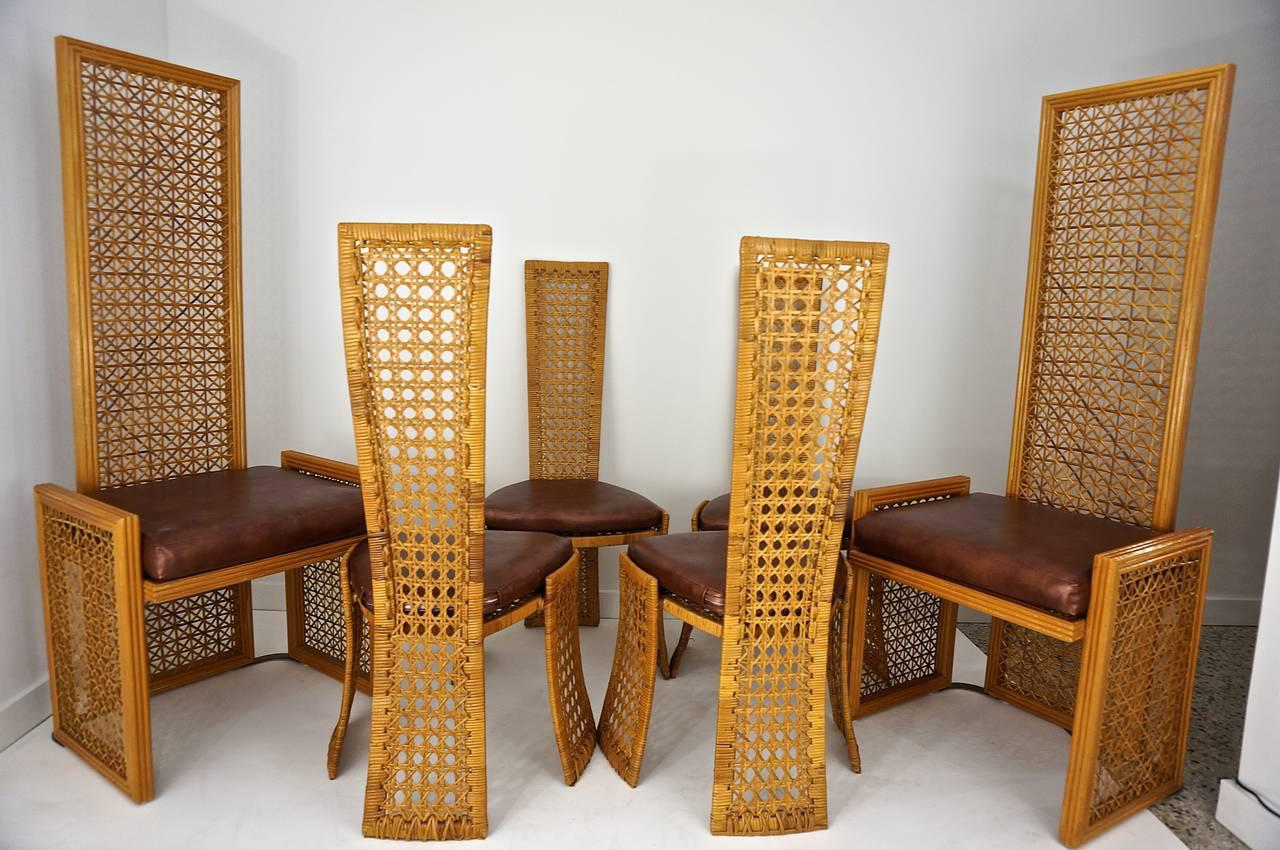 vivai del sud for casa bella italian rattan dining chairs set of 8 image