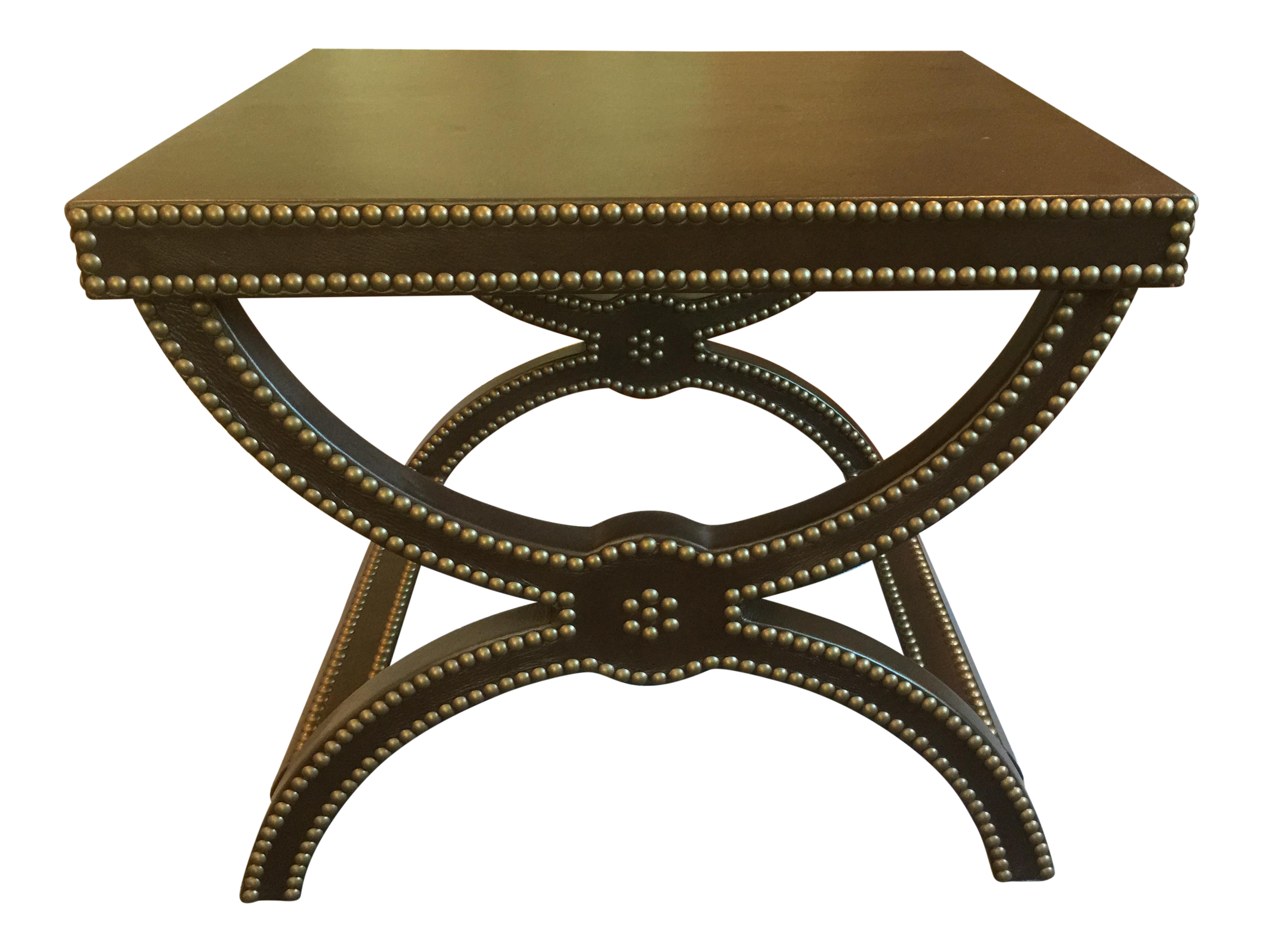 Baker Leather Alexandre Brown Stool End Table