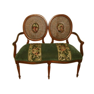 Fruitwood & Velvet Tapestry Balloon Back Settee