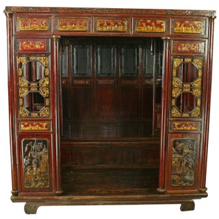Chinese Late Qing Dynasty Traditional Headboard
