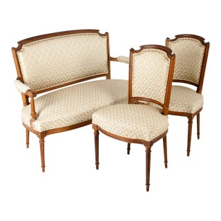 Vintage French Settee With Two Side Chairs