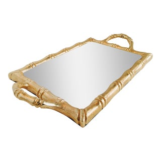 Gold Cast Metal Bamboo Tray