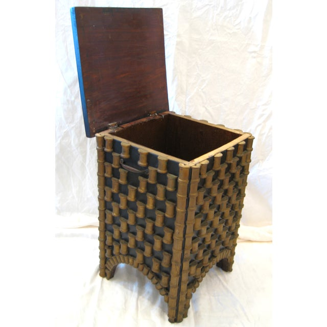 Folk Art Spool Table With Hidden Storage - Image 3 of 6